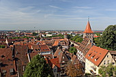 View from the Imperial Castle onto the Tiergärtertor gate and the roofs of the old town, Nuremberg, Middle Franconia, Bavaria, Germany