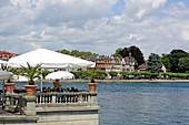 Lake terrace of the Hotel Steigenberger, Auf der Insel, Konstanz, Bodensee, Baden-Württemberg, Germany