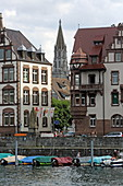 Houses on Schottenstrasse with the Tower of Münster, Constance, Lake Constance, Baden-Württemberg, Germany