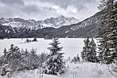 Winter at the Eibsee below the Zugspitze, one of the most beautiful mountain lakes in Bavaria, Bavaria, Germany