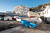 View of stacked fishing boats in the fishing village of la Bombilla, La Palma, Canary Islands, Spain, Europe