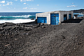 Old house on the cliff Fuencaliente, in the background of the Atlantic Ocean, La Palma, Canary Islands, Spain, Europe