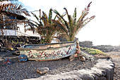 Small boat with the name of the fishing village la Bombilla, La Palma, Canary Islands, Spain, Europe