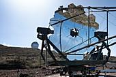 View of the smallest of the MAGIC mirror telescopes, Roque de los Muchachos, Caldera de Taburiente, La Palma, Canary Islands, Spain, Europe
