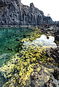 View of the natural pond at Playa Echentive, beach at Fuencaliente, La Palma, Canary Islands, Spain, Europe