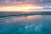 Sunset at the hotel pool, Puerto Naos, La Palma, Canary Islands, Spain, Europe