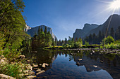 Merced River with El Capitan in Yosemite National Park in Summer, USA