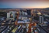 Las Vegas Strip from a bird's eye view at sunset from the panoramic deck of the Stratosphere Tower, USA