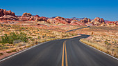 Road through the desert in the Valley of Fire, USA