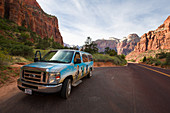 Road with van through Zion National Park, USA
