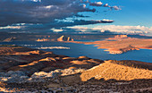 Lake Powell at Page with sun and clouds, USA