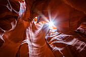 Red rock formations with sunlight in the slot canyon of the Upper Antelope Canyon near Page, USA
