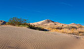 Sand dunes of Kelso in the Mojave National Park with a blue sky