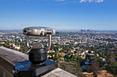 Binoculars at the Griffith Observatory in Los Angeles in the sun, USA