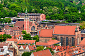 Main railway station of gdansk, and Saint Josephs church. View from the tower of St Mary's church (Mariacki church). Gdansk, Main City, Pomorze region, Pomorskie voivodeship, Poland, Europe
