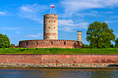 Historic Wisloujscie fortress builded as a wooden structure in 1433 and rebuilded in gothic brick style in 1482. Museum. Martwa Wisla river. Gdansk, Main City, Pomorze region, Pomorskie voivodeship, Poland, Europe