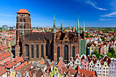 Basilica of St. Mary of the Assumption of the Blessed Virgin Mary in Gdansk, commonly known as Mariacki church. View from the tower of City Hall towards north. Gdansk, Main City, Pomorze region, Pomorskie voivodeship, Poland, Europe