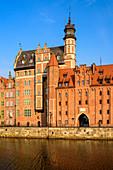 Altstadt an der Motlawa, Mottlau, Archäologisches Museum und Mariacka-Tor, Danzig, Polen, Europa