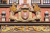 Crest of Gdansk city, at the front of The Great Armoury, nowadays Academy of Fine Arts, west end of Piwna street. Gdansk, Main City, Pomorze region, Pomorskie voivodeship, Poland, Europe