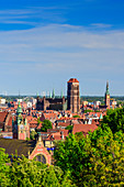 View from the Gradowa hill towards medieval old town. On the left main railway station, in the middle basilica of St. Mary of the Assumption of the Blessed Virgin Mary in Gdansk, commonly known as Mariacki church, and thin tower of City Hall. Gdansk, Main City, Pomorze region, Pomorskie voivodeship, Poland, Europe