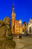 Altstadt, Dlugi Targ Straße (Langer Markt), Rathaus mit Turm, Polen, Europa