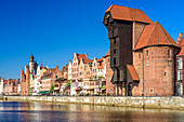 Gdansk, Main City, old town, old motlawa canal. Gothic crane, branch of the National Martime Museum. Gdansk, Main City, Pomorze region, Pomorskie voivodeship, Poland, Europe