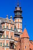 Gdansk, Main City, old town, tower of Archeological museum. Gdansk, Main City, Pomorze region, Pomorskie voivodeship, Poland, Europe