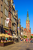 Gdansk, Main City, old town, Dluga (Long) street, tower of City Hall, view from west towards east. Gdansk, Main City, Pomorze region, Pomorskie voivodeship, Poland, Europe