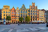 Gdansk, Main City, old town, Tenement houses at Dlugi Targ street (Long Market). Gdansk, Main City, Pomorze region, Pomorskie voivodeship, Poland, Europe