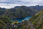 Aerial of Kayangan Lake, Banuang Daan, Coron, Palawan, Philippines, Asia