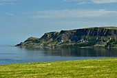 Steep cliffs overlooking the Atlantic Ocean at Cushendall, County Antrim, Northern Ireland