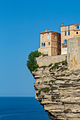 The Citadel and old town of Bonifacio perched on rugged cliffs, Bonifacio, Corsica, France, Mediterranean, Europe