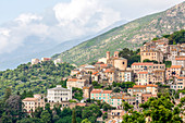 The small hill town of Oletta in northern Corsica, France, Mediterranean, Europe