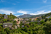 The historic hill village of Nonza on Cap Corse, the most northerly point of Corsica, France, Mediterranean, Europe