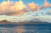 View of Nevis Peak and Caribbean Sea, St. Kitts and Nevis, West Indies, Caribbean, Central America