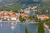 View of old town of Cavtat and Adriatic Sea from an elevated position, Cavtat, Dubrovnik Riviera, Croatia, Europe