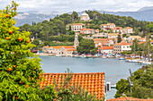 View of town from elevated position, Cavtat on the Adriatic Sea, Cavtat, Dubrovnik Riviera, Croatia, Europe