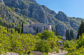 Landscape and scenery and Sokol Tower on a sunny spring day, Dunave, Croatia, Europe