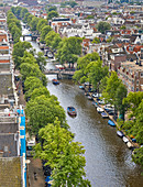 An aerial view of Prinsengracht Canal, Amsterdam, North Holland, The Netherlands, Europe