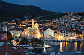 View over the port to the old town of Hvar, Hvar Island, Dalmatia, Croatia, Europe