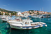 View from port to Sveti Stjepan Cathedral and Arsenal, Hvar, Hvar Island, Dalmatia, Croatia, Europe