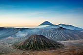 View over volcanic peaks and lava landscapes around Mount Bromo at dawn, Java, Indonesia, Southeast Asia, Asia