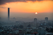 Sunrise over Algiers with the largest minaret in the world, Algiers, Algeria, North Africa, Africa