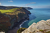 Coastline cliffs at the Valley of Rocks, near Lynton, Exmoor National Park, Devon, England, United Kingdom, Europe