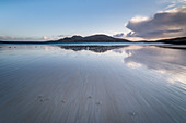 Bagh a Deas (South Beach), with the uninhabited island of Sandray in the distance, Vatersay, Outer Hebrides, Scotland, United Kingdom, Europe