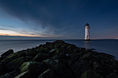 New Brighton Lighthouse at dusk, Wallasey, Merseyside, The Wirral, England, United Kingdom, Europe