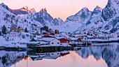 Reine fishing village in winter, Reinefjord, Moskenesoya, Lofoten Islands, Arctic, Norway, Europe