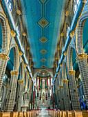 Blue and gold interior of the Basilica Menor de la Immaculada Concepcion, Jardin, Antioquia, Colombia, South America