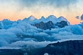 Alta Via Bepi Zac, sunset on Marmolada, Dolomites, Veneto, Italy, Europe