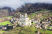 Santa Casa church in spring, Tresivio, Valtellina, Lombardy, Italy, Europe